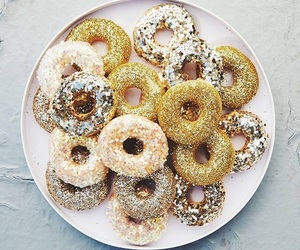 donuts, food, and gold image