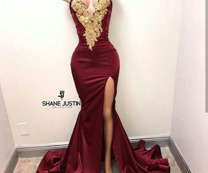 dress, prom dress, and gold image