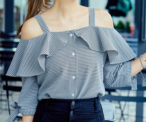 asian fashion, blouse, and check image