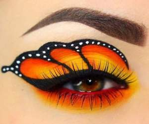 butterfly, eye, and orange image