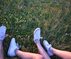 grass, white shoes, and friends image