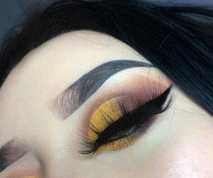 yellow, eyebrows, and makeup image