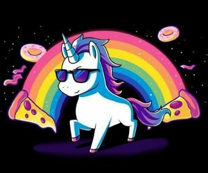 unicorn, pizza, and rainbow image