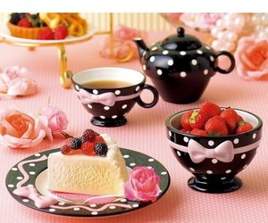 tea, cake, and pink image