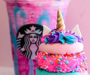 starbucks, unicorn, and cupcake image