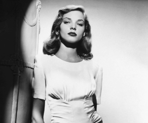 Lauren Bacall and black and white image