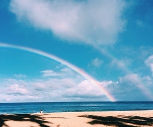 beach, summer, and rainbow image