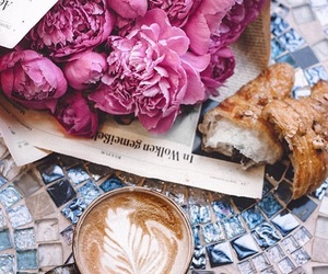 coffee, croissant, and flowers image