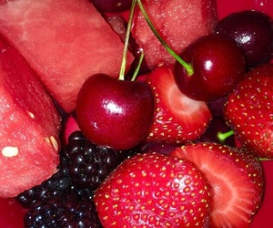 cherry, fruit, and strawberries image