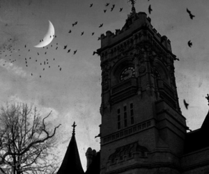 moon, black and white, and church image