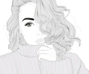 outline, draw, and girl image