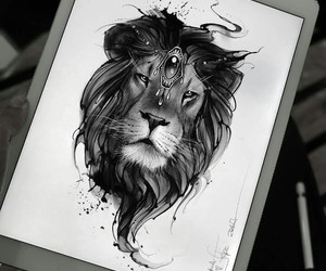 art, illustration, and lion image