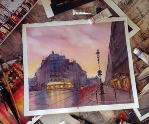 art, Houses, and rain image
