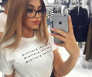 girl, iphone, and glasses image