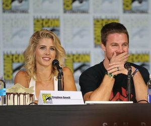 arrow, emily bett rickards, and oliver queen image