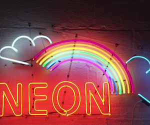 neon, rainbow, and light image