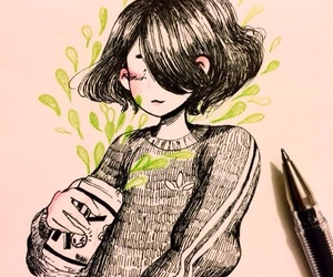 girl, green, and plant image