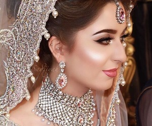 bride, jewellery, and make up image