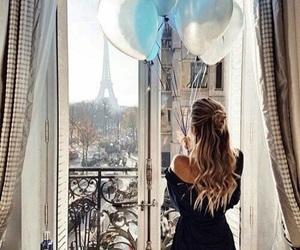 girl, paris, and balloons image
