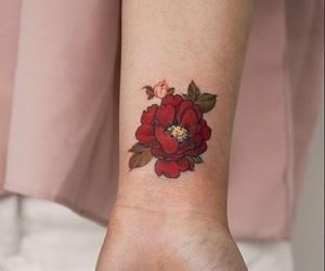 flowers, tattoo, and peonies image