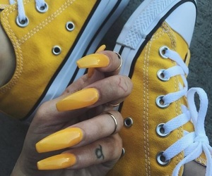 nails, yellow, and shoes image