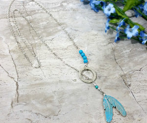 etsy, silver feather, and tribal necklace image