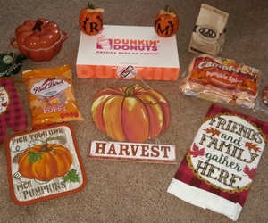 dunkin donuts, christmas tree shop, and fall image