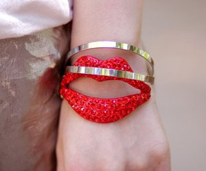 bracelet, red, and lips image