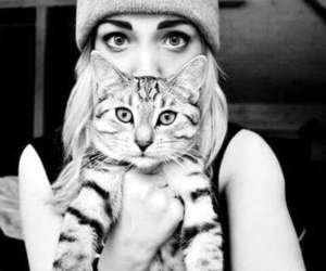 animals, girl and cat, and cat image