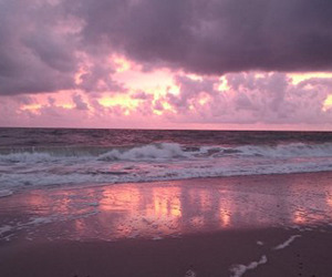 beach, pink, and sky image