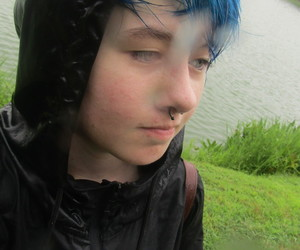 dyed hair, rain, and emo boy image