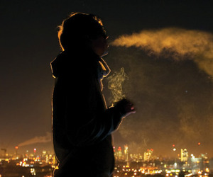 boy, night, and cigarette image