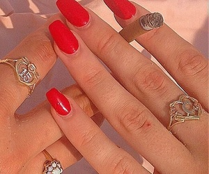 red, aesthetic, and nails image