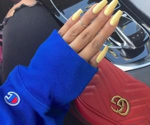 nails, gucci, and yellow image