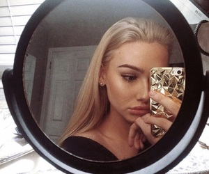 blonde hair, case, and make up image