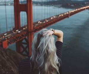 girl, hair, and bridge image