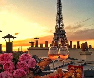 paris, flowers, and sunset image