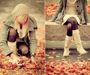 beanie, girl, and leaves image