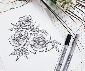art, drawing, and flower image
