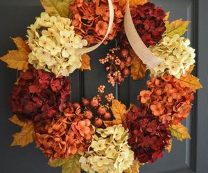 autumn, flowers, and wreath image