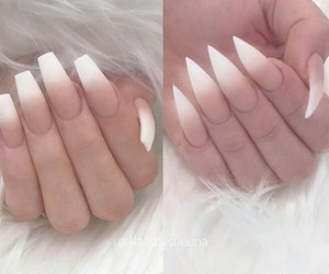 white nails and ombre nails image