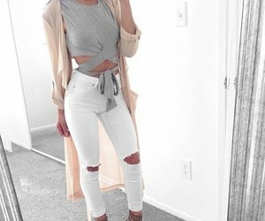 grey, jeans, and white image