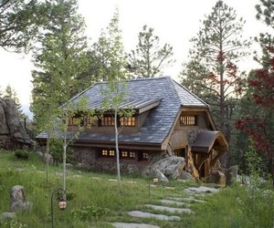 cabin, wooden homes, and log homes image
