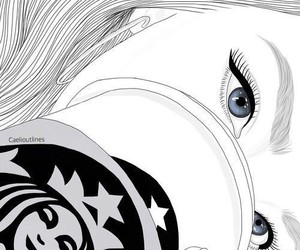 girl, outline, and starbucks image