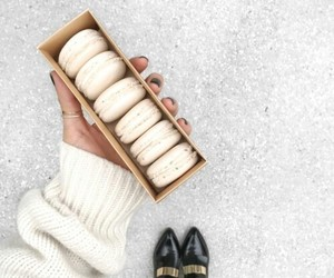 food, macaroons, and white image