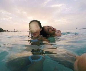 bikini, brunettes, and sea image