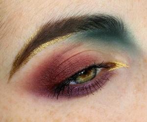 makeup, eye, and gold image