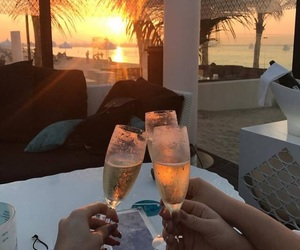 drink, sunset, and champagne image