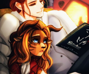 blue eyes, book, and belle and beast image
