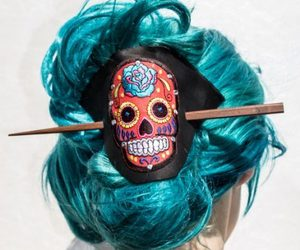 day of the dead, skull hair clip, and skull leather hair clip image